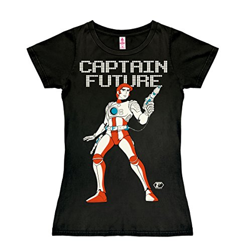 Logoshirt Science-Fiction - Held - Captain Future T-Shirt Damen - schwarz - Lizenziertes Originaldesign, Größe ()