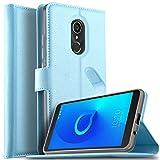 KuGi Alcatel 3C Hülle, Alcatel 3C Wallet Case, Brieftasche Case Hülle PU Kunstleder Flip Case mit Standfunktion Kartenfächer und Bargeld für Alcatel 3C Smartphone.Blau