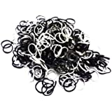 ETHAHE 1800pcs Mix Of White & Black Latex-free Loom Refill Rubber Bands Bracelets With 75 S-Clips