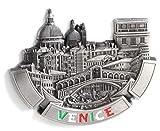 Imanes de nevera decorativos, fabricados con metal, diseños de Venecia, París, Roma, Praga, Ámsterdam, Barcelona, Dubai y Tailandia, ideales como regalo de recuerdo, metal, Silver Venice