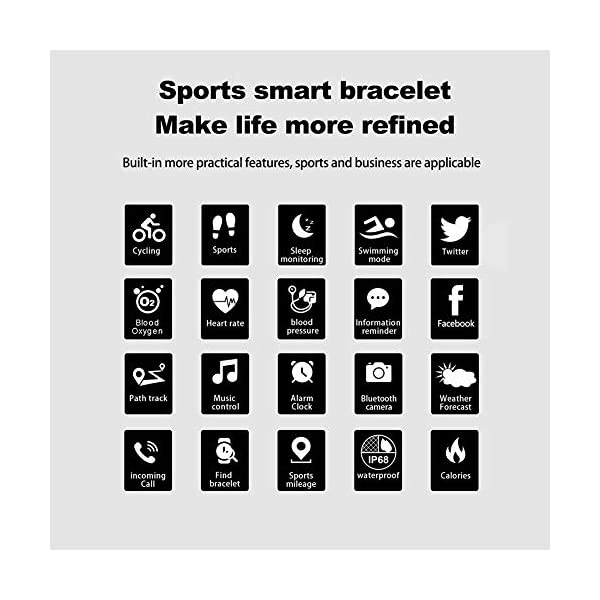 Pulsera impermeable Bluetooth 4.0fitness Tracker podómetro Monitor de ritmo cardiaco del sueño mallalah deporte reloj Smart Watch, color Negro 6