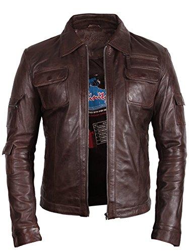 Klassiker Herren Bikerjacke aus Leder Brown Echtes Leder Motor Motorradjacke Slim Fit Coat Outwear Klein-5XL (X-Large)