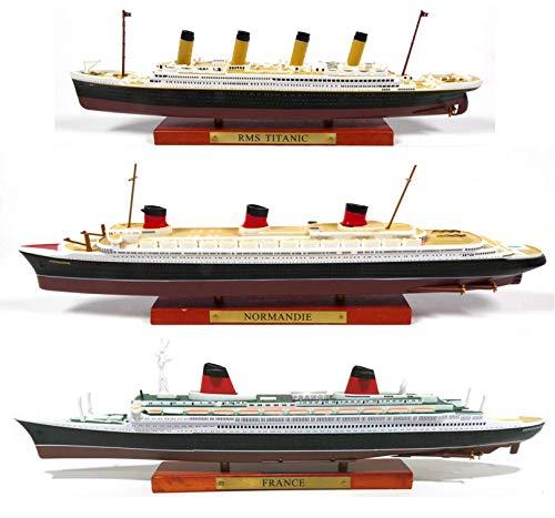 Atlas Juego de 3 cruceros transatlánticos Francia + Normandía + Titanic Colección Paquebot du Monde 1: 1250 (Ref 001 + 003 + 006)