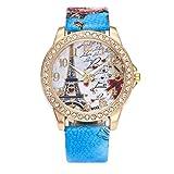 Orologio da polso al quarzo,WINWINTOM orologio al quarzo di cuoio di cristallo della vigilanza di modo delle donne della torretta di Parigi Eiffel dell'annata (Blu)