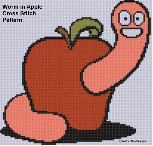 Worm in Apple Cross Stitch Pattern (English Edition)
