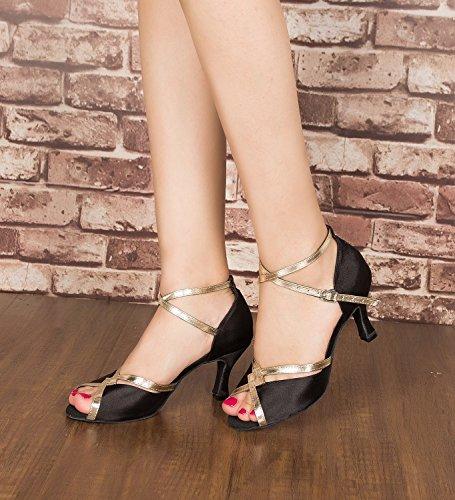Miyoopark ,  Damen Tanzschuhe Black/Gold-7.5cm heel