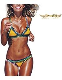 BYD Mujeres Bikinis Conjuntos Push Up Croché Bañador Coloridos Ropa de baño Neopreno 2pcs Tops + Shorts