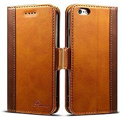 """Rssviss Coque iPhone 6/6s Housse Etui en Cuir Flip Case pour iPhone 6/6s [4 emplacements pour Cartes et Monnaie] avec [Fermeture magnétique] iPhone 6/6s Coque Rabat 4,7"""" Marron"""