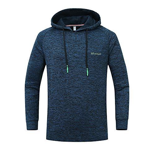 Xmiral Herren Hoodie Sweatshirt Große Größe Outdoor Sports Gebrochene Streifen Mit Kapuze Top Bluse(M,Dunkelblau)