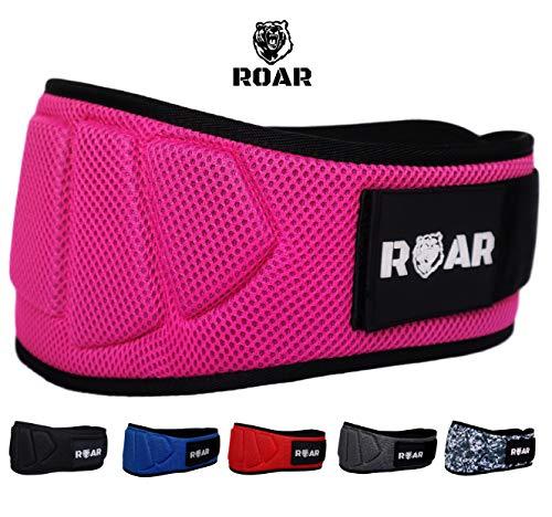 Roar® Cinturón musculación para Entrenamiento de Levantamiento de Peso Crossfit Powerlifting Halterofilia Pesas Gimnasio (Rosa, XS)