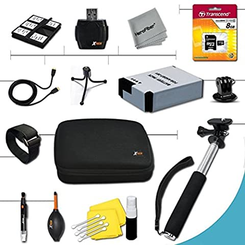 Xtech® Essential 15 piece Accessory Kit for GoPro HERO4 Hero 4 Digital Camera Includes an 8GB High Speed Memory Card + High Capacity AHDBT-401 Battery + Hand Held Monopod with a GoPro tripod mount + Well Padded Camera Case + Gold plated HDMI Cable + Remote Wrist Strap + Universal Card Reader + Mini Table Tripod + Ultra Fine HeroFiber Cleaning Cloth
