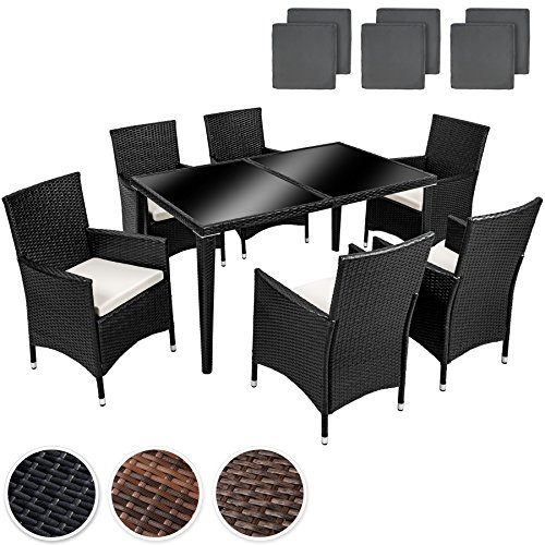 Tectake poly rattan aluminium garden furniture dining set 6 1 seater 2 sets for exchanging the - Garden furniture colours ...