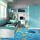 Yosot Tapete Cartoon Fisch 3D Boden Malerei Kinderzimmer Badezimmer Schlafzimmer Pvc Selbstklebende Bodenbelag Tapeten 3D Anti Wear Abnehmbar-200Cmx140Cm