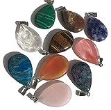 Juego de 10 piezas de piedras semipreciosas multicolor, colgante ovalado con forma de gota, piedras preciosas, piedras curativas, ágatas, joyas, perlas de piedras semipreciosas