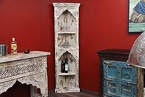 Étagère d'angle blanc antique, style colonial étagère en bois massif, inde, 180 x 41 x 41 cm