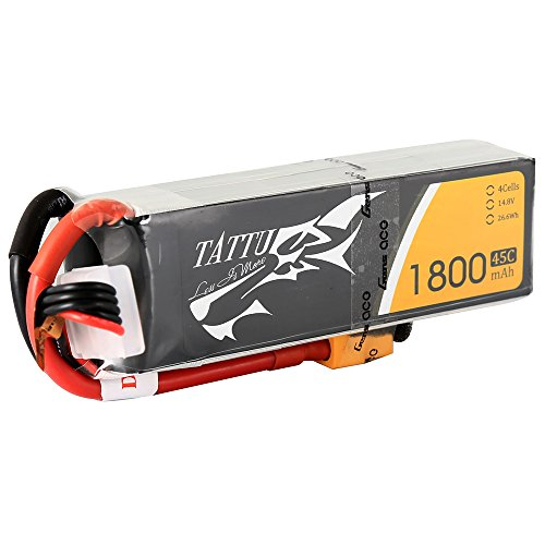 Tattu LiPo Akku Pack 1800mAh 14.8V 45C 4S für FPV Racing Quadcopters Diverse Racing Cars Helikopter Flugzeuge und Modellboote