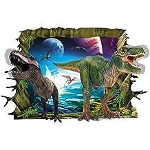 Pegatina de pared adhesivo dinosaurios efecto 3D tamaño 60x90cm