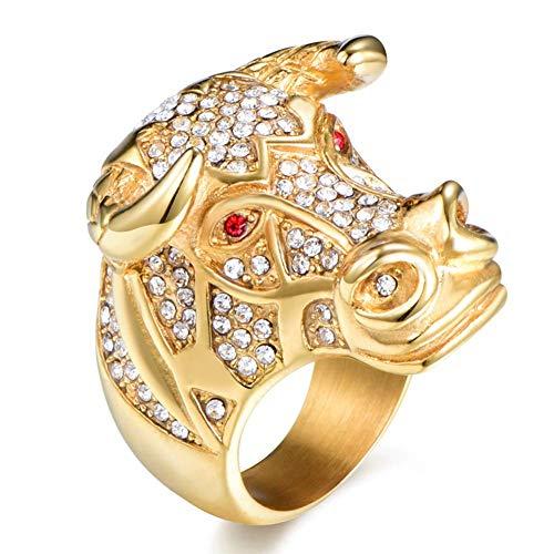 XBYMEN Rote Augen Bull Kopf Ring Herren Accessoires Gold überzogener Edelstahl Kuh Kopf Ring (Bulls Rosenkranz)