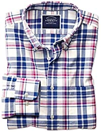 b1d4174537b2 Classic Fit Button-Down Washed Oxford Royal and Pink Check Cotton Shirt  Single Cuff by