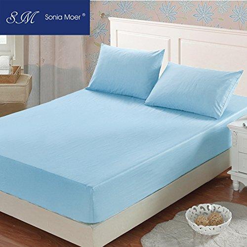 Sonia moer-lenzuolo con angoli in cotone 100% , colore: blu cielo, azzurro, singolo
