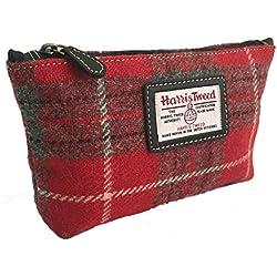 Genuine Harris Tweed rojo de cuadros escoceses cosmético/Neceser