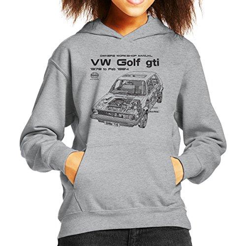 Haynes Owners Workshop Manual VW Golf GTI Sport 78 to 84 Black Kid's Hooded Sweatshirt (Sweatshirt Classic Golf)