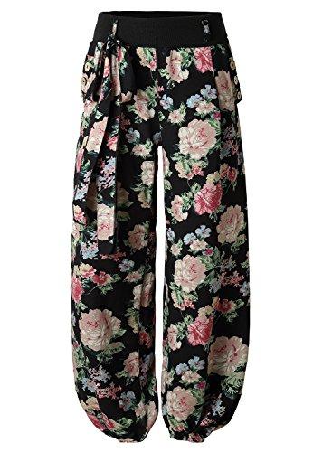 BaiShengGT Women's Casual Comfy Elastic Waist Loose Long Harem Pants