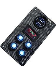 Rupse Interruptor Basculante de Panel LED Dual USB Cargador y Medidor de Capacitancia de Voltímetro Añadido para Coches y Barcos