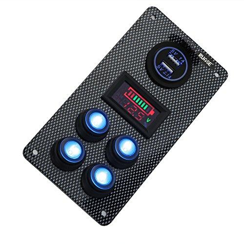 Rupse Interruptor Basculante de Panel LED Dual USB Cargador y Medidor de...