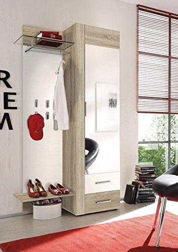 Garderobe SAMBA Eiche Sonoma Weiß Dielenmöbel Kompaktgarderobe