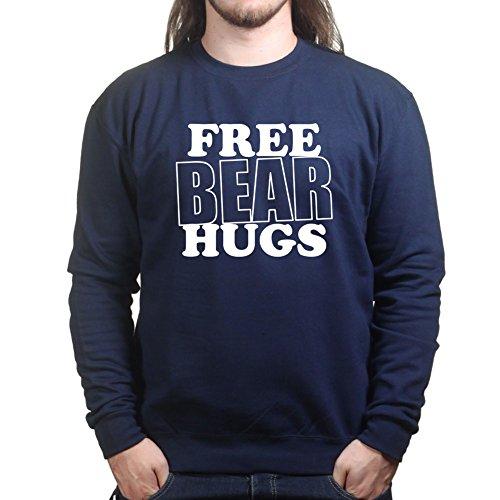Free Bear Hugs - Funny Unisex Sweatshirt 3XL Navy (Hug Bear Hat)