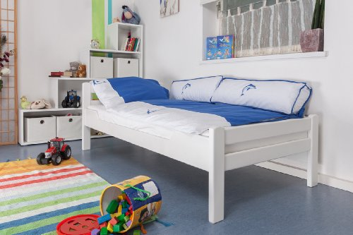 "Kinderbett/Jugendbett""Easy Premium Line"" K1/2n, Buche Vollholz massiv weiß lackiert - Maße: 90 x 200 cm"