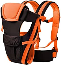 HOLME'S Kids 4 in 1 Deluxe Series-4 Way Carrying Position, with Wide Shoulder Straps, Adjustable Belts and Cushioned Inner portions Baby Carrier (Orange)