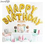 smartcraft Happy Birthday Alphabet Letter Foil Balloons for Kids (Gold)