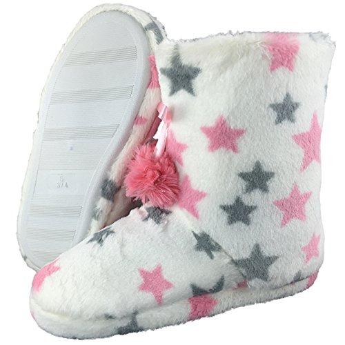 Meine Damen Schuhe Hausschuhe Warme gesäumt Helle Farbe Champagner Bommeln Größe 3 bis 8 Weiß