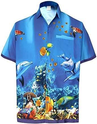 *La Leela* Palma Pappagallo Floreale Casuale buttotn Giù Manica Corta Camicia Blu Hawaiian Uomini 3XL