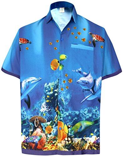 *la leela* palma pappagallo floreale casuale buttotn giù manica corta hawaiano camicia blu uomini l