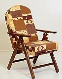 Amalfi Gartenstuhl/ Liegestuhl für Wohnzimmer und Küche, mit Polsterkissen, Holz, klappbar auf 4 Positionen, 105cm hoch, mit Verlängerung zur Fußablage