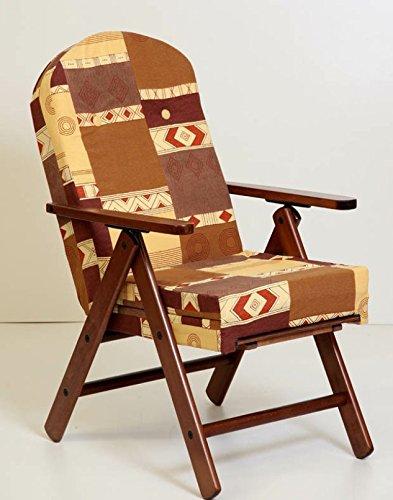 Poltrona sedia sdraio amalfi in legno reclinabile 4 posizioni cuscino imbottito h 105 con prolunga poggiapiedi soggiorno cucina salone divano