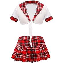 FEESHOW Mujer Escuela Colegiala Conjunto de Camisa corta uniforme + Mini falda Plisada Cosplay M-XL