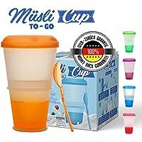 Müsli To Go –Taza para Cereales/Granola con Compartimento Refrigerado para Leche o Yogur