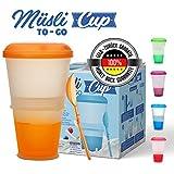 Muesli to Go | Tazza Termica pieghevole per Cereali, Frutta, Alimenti da Viaggio | Scomparto Refrigerante porta Yogurt/Latte | Cucchiaio Incluso | Colore: Arancione|