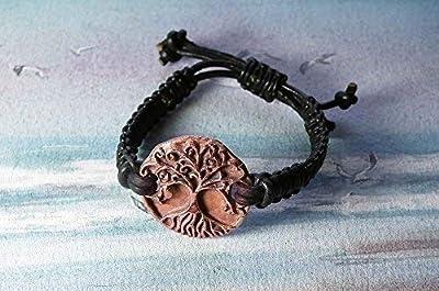 Bracelet unisexe ajustable, bijou celtique/viking/wicca/breton, Yggdrasil, arbre de vie celte, fait main en cuivre et macramé de cuir noir, pour hommes et femmes