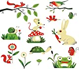 ufengke® Niedlichen Schildkröte, Kaninchen, Kleinnager, Frosch, Schnecke und Eichhörnchen DIY Wandsticker,Kinderzimmer Babyzimmer Entfernbare Wandtattoos Wandbilder