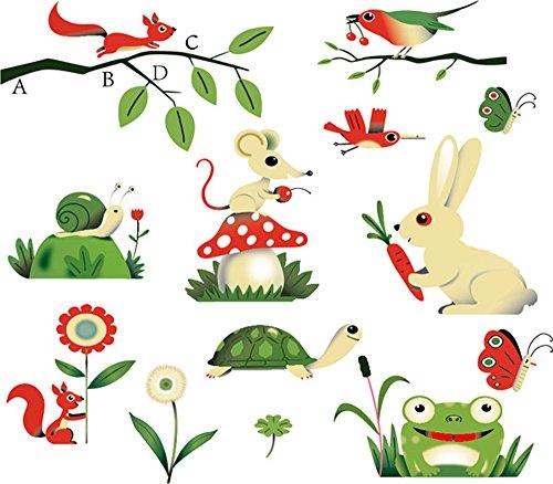 ufengker-tartaruga-carino-coniglio-piccoli-roditori-rane-lumache-e-scoiattoli-adesivi-murali-camera-
