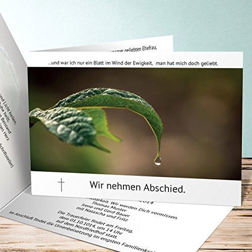 Einladungskarten Beerdigung, Tautropfen 1000 Karten, Horizontale Klappkarte 148x105 inkl. weiße Umschläge, Weiß