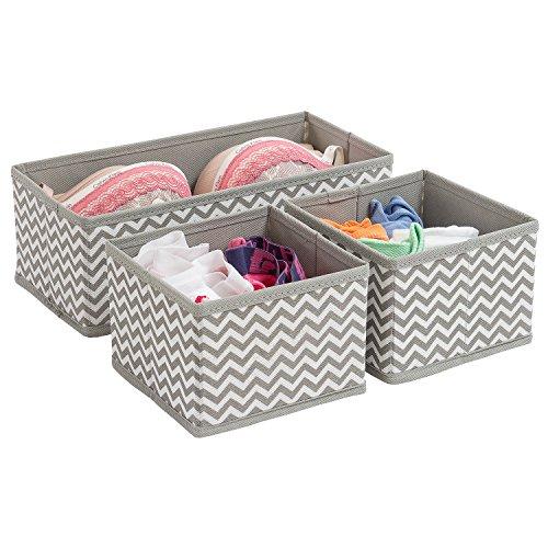 Tatkraft Wave Set aus 3 Boxen, Aufbewahrungsboxen aus Stoff für Zubehörteile Schrank Schublade Chevron