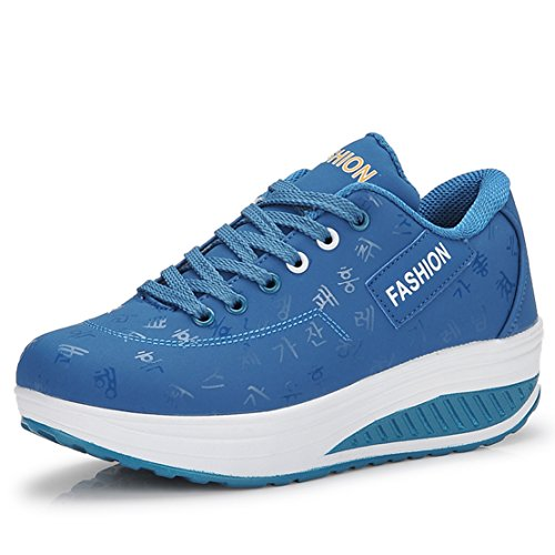Damen Sneaker Schuhe Sportschuhe Mädchen PE-Turnschuhe Frauen Fitness-Shake Schuhe (EUR38 (Passen für EU37), Blau)