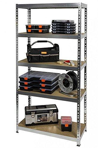 Verzinkt Solide Regal (KREHER XL Schwerlastregal aus verzinktem Metall mit 5 höhenverstellbaren Böden, belastbar mit bis zu 180 kg pro Boden. Teilbar als 3+2 Regal. Böden aus FSC zertifiziertem Holz. Maße 180 x 90 x 40 cm)