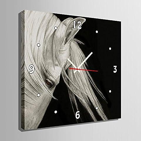 ZRF-Uhr-Malerei Weißes Pferd Schlafzimmer Wohnzimmer Esszimmer Kinder Zimmer Dekoration Malerei